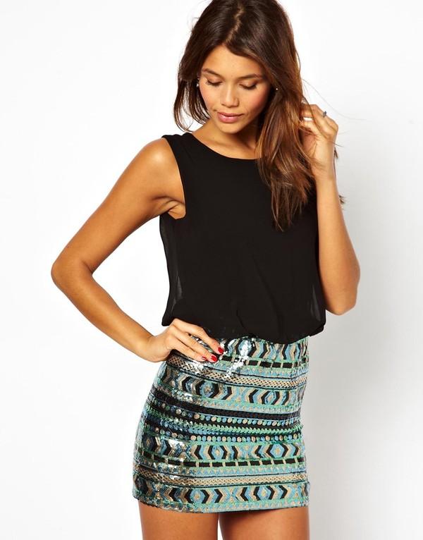 dress black dress black green short dress blouse skirt loose blouse aztec skirt sequins