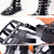 Black Gladiator Flat Summer  Knee High Sandals $159