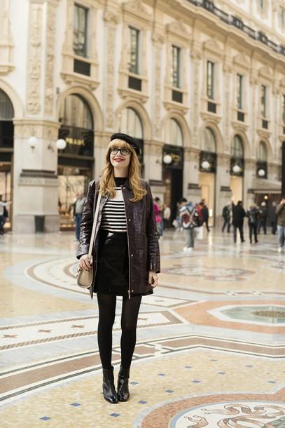 miss pandora blogger jacket sweater skirt shoes etam
