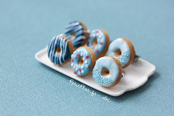 Blue Donut Earrings  Food Jewelry  Donut Collection by PetitPlat