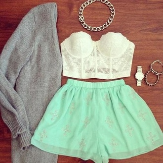 skirt dress jacket grey jacket grey top tank top white top white tank top blue bright blue accessories wathc shorts jewels blouse mint bandeau oversized cardigan jewelry gorgeous sweater white blouse grey cardigan shirt white lace cute high waisted shorts adorbz this in my life❤