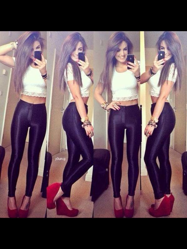 shorts black pants shirt shoes nail polish jewels