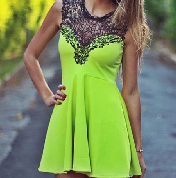 dress neon lime green skirt lace