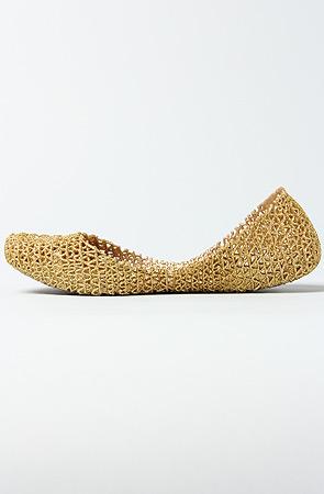 Melissa Shoes Flats Campana Papel II Shoe in Gold Glitter -  Karmaloop.com