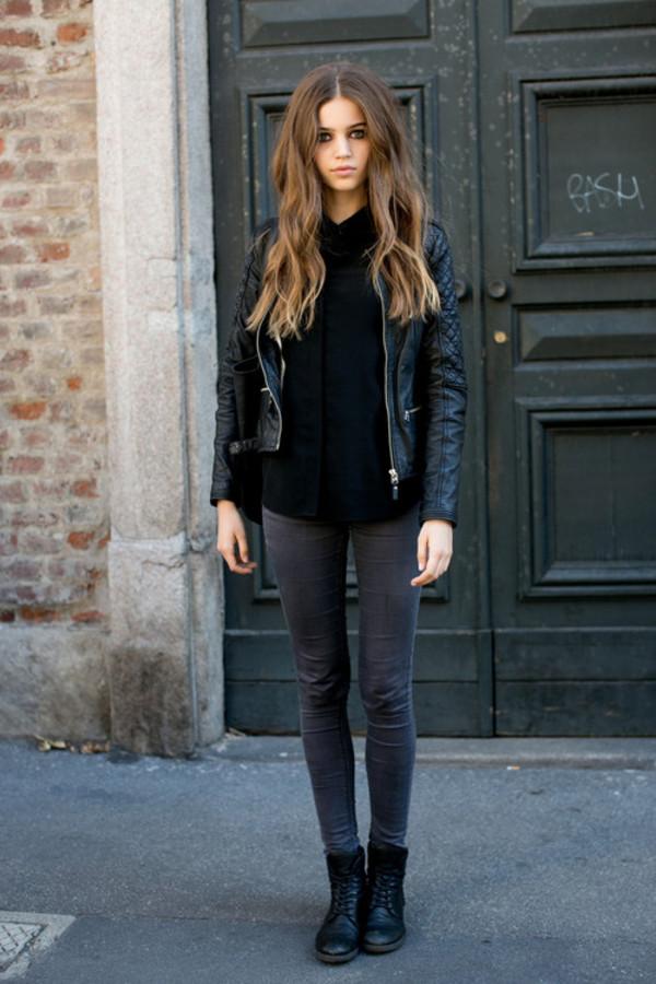 jacket leather black jeans
