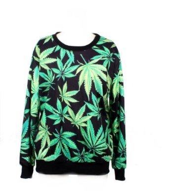 Amazon.com: LoveLiness Neon Marijuana Leaf Patterns Print Sweatshirt Sweaters (One Size, Black and Green): Clothing