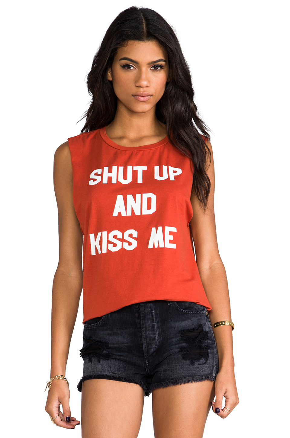 Morning Warrior Shut Up & Kiss Me Muscle Tee in Brick   REVOLVE
