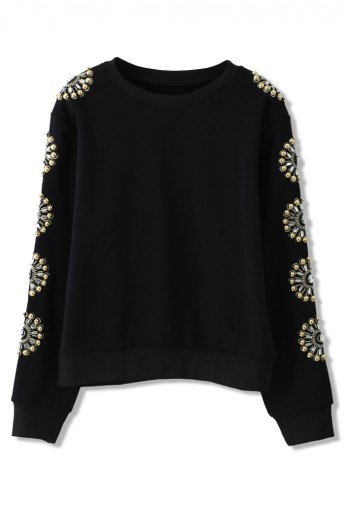 Floral Crystal Embellished Sleeves Sweat Top - Retro, Indie and Unique Fashion