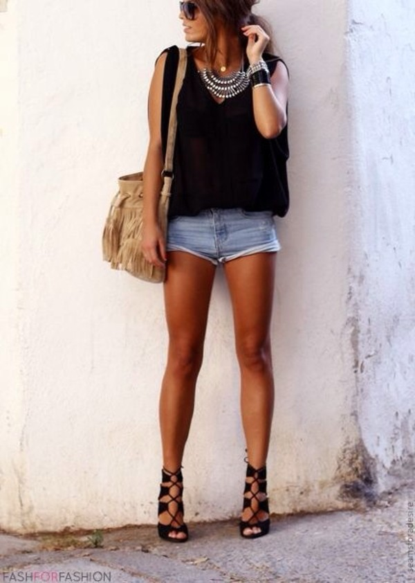 shorts shoes shirt jewels
