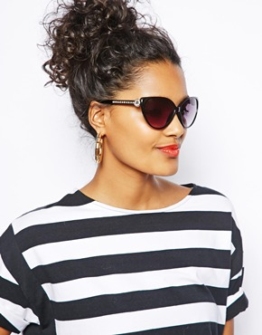 River Island | River Island Claudia Cateye Sunglasses with Bling Arms at ASOS