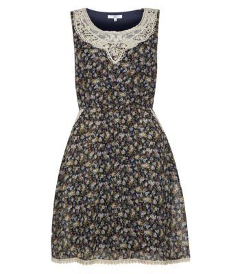 Navy Crochet Front Floral Print Skater Dress