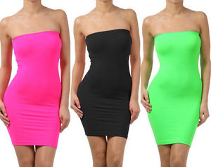 Tube Strapless Stretch Tight Fitted Seamless One Size Body-Con Mini Sexy Dress | eBay