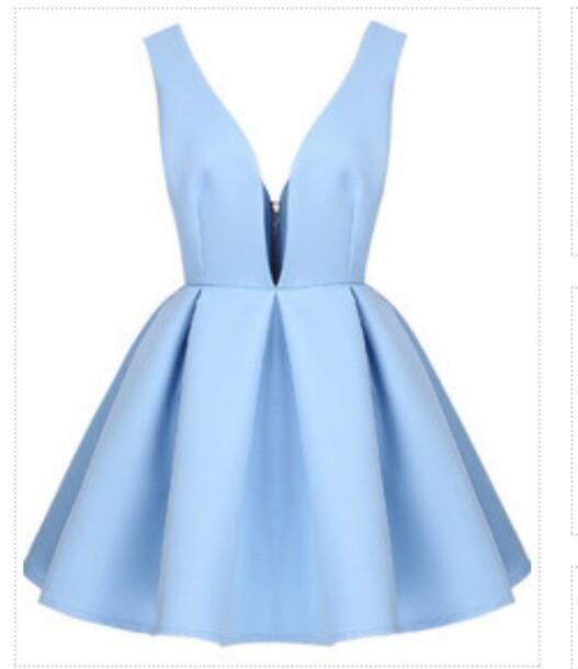 dress baby blue dress v neck dress
