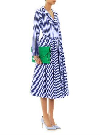dress fagiolino striped shirt-style dress striped dress blue antigona leather envelope clutch clutch silver infinity ring ring point-toe suede pumps pumps bubble chain bracelet bracelets bag shoes jewels