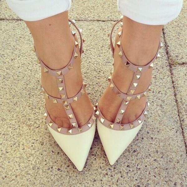 shoes white white heels studs stud heels cute fashion heels Valentino