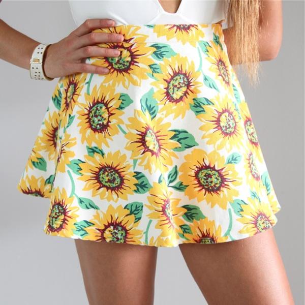 Festival Sunflower Floral Prints High Waisted Skater Circle Skirt 6 8 10 12   eBay