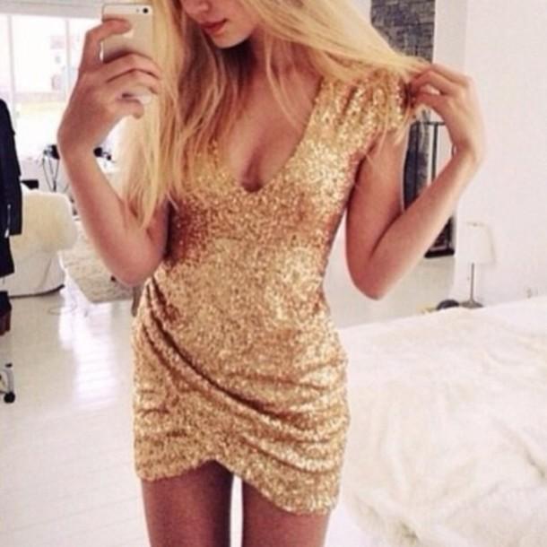 dress sequin dress gold sparkle nye dress