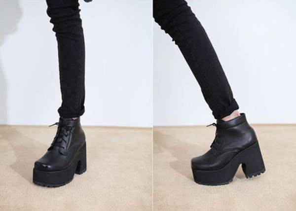 shoes grunge goth platform shoes black leather sneakers