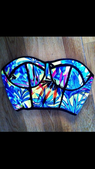 shirt multicolor top colorful swimwear colorful swimwear swimwear printed swimwear usa swim wear top
