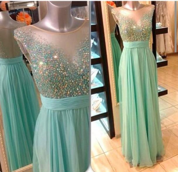 dress prom dress blue dress sparkle