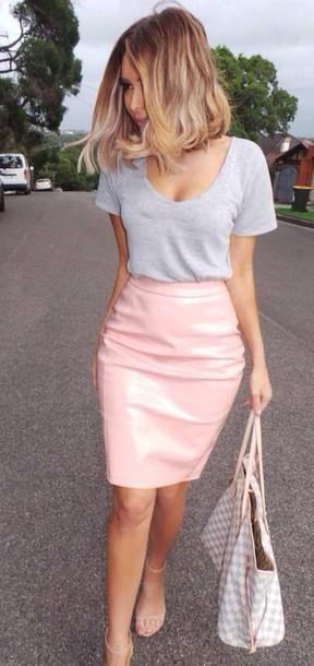 skirt classy nude leather skirt pink skirt pencil skirt