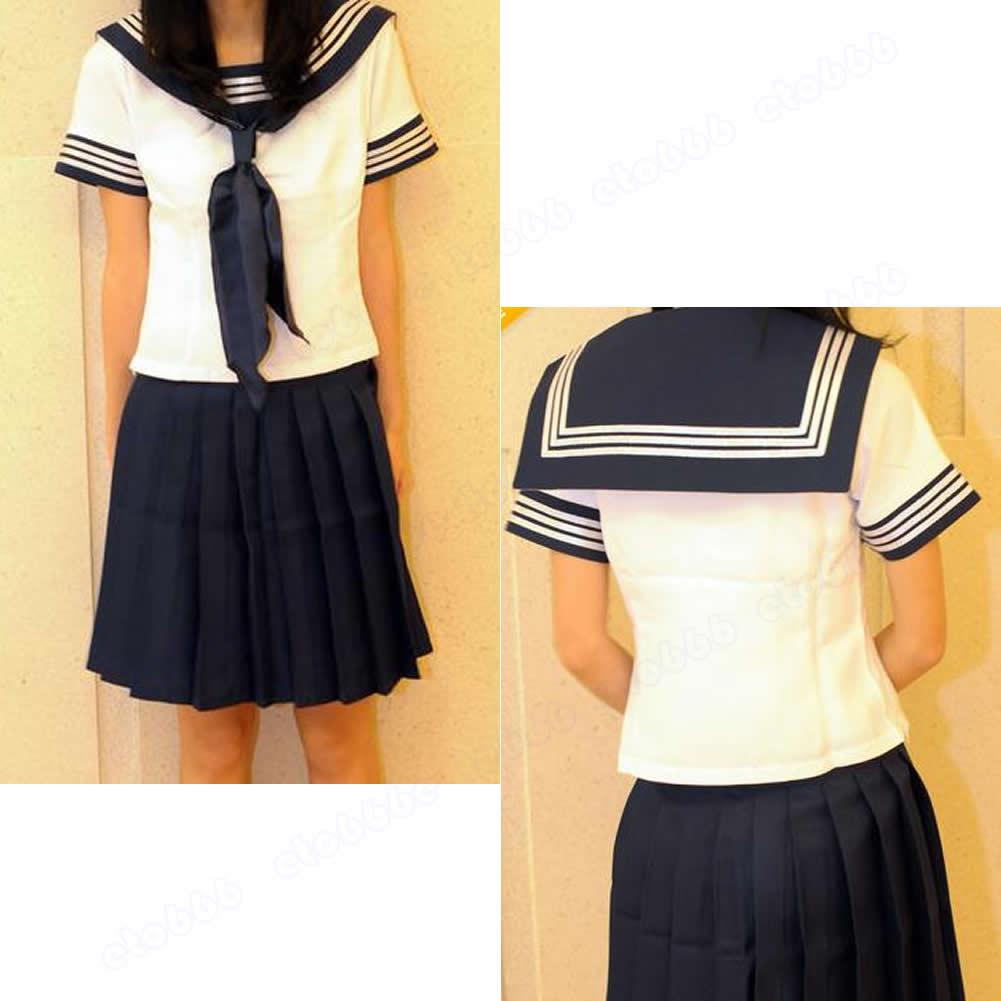 New Pure Japanese School Girl Sailor Necktie Uniform Cosplay Costume | eBay