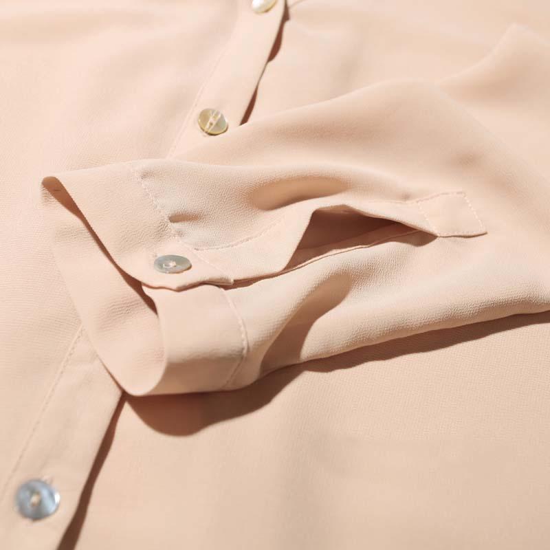 Nude Contrast Leather Asymmetrical Chiffon Blouse - Sheinside.com