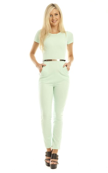 Maiya Jumpsuit in Mint In Mint | iKrush