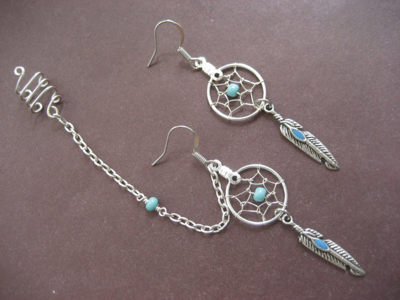 Turquoise Dream Catcher Asymmetrical Cartilage door Azeetadesigns