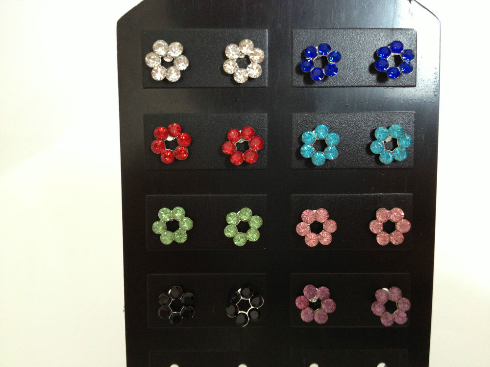 NEW 925 Sterling Silver Diamante Open Flower Stud Earrings *See Special Offer* | eBay