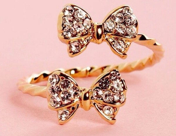 jewels bows ring cute