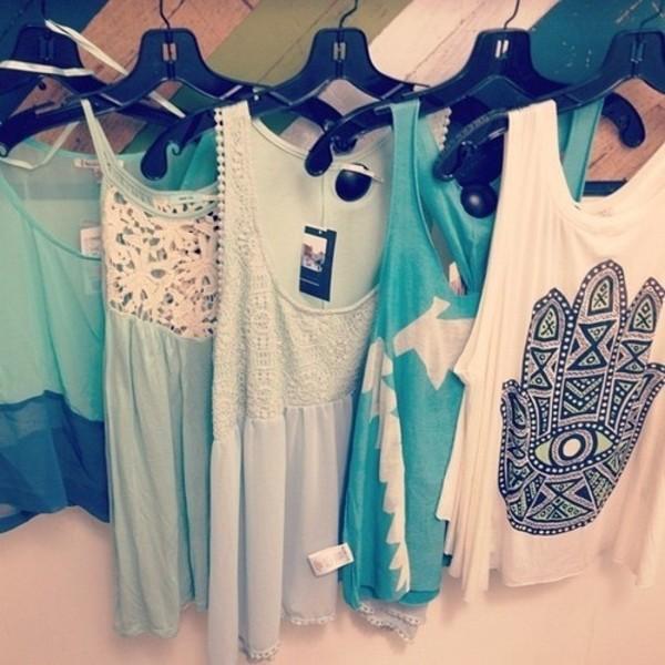 t-shirt boho shirt shirt tank top clothes blue tank top summer fash summer top skirt