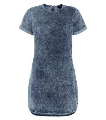 Blue Denim Short Sleeve Tunic Dress