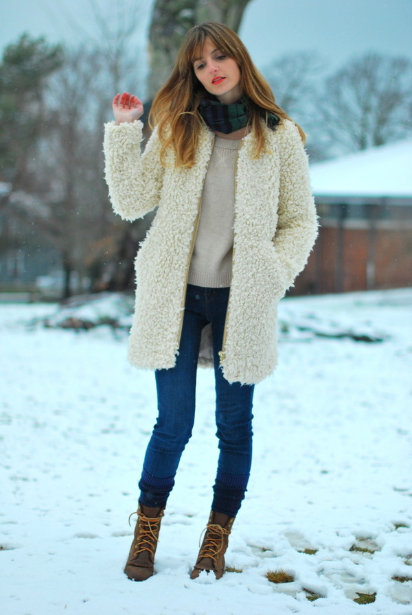 jess style rules coat jeans scarf sweater shoes