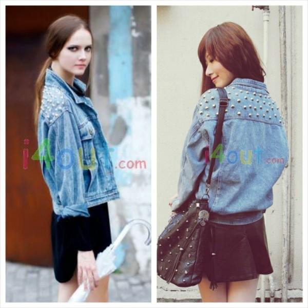 jacket lookbook denim jacket fashion style denim design clothes look coat spiked denim punk