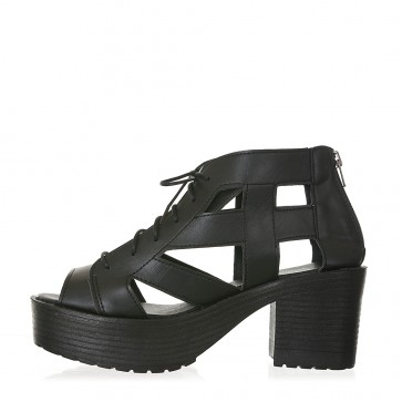 Easy & Chic Open Toe Cut Out Lace Up Platform Chunky Heel Gladiator Sandals