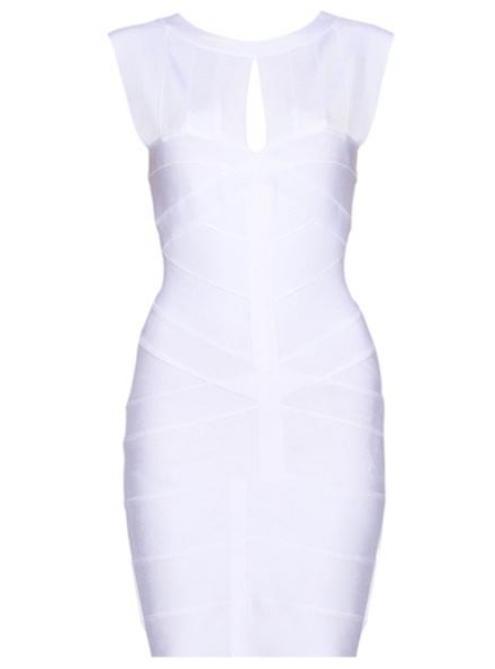 White Cut Out Bandage Black Dress H065$99