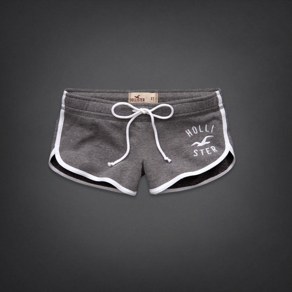 NWT Hollister Curved Hem Grey White sweat Athletic Shorts L   eBay