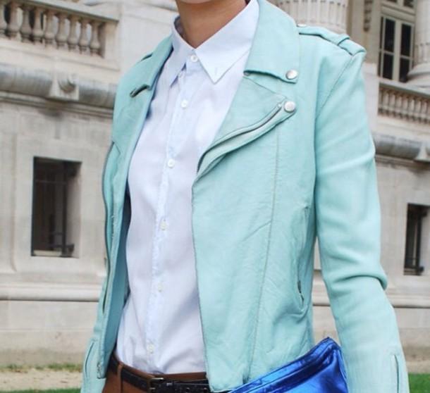 jacket leather jacket green jacket coat