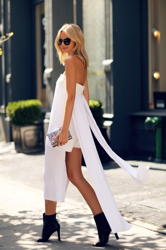 tuula blogger sunglasses summer outfits clutch white dress black boots pearl necklace romper bag shoes jewels
