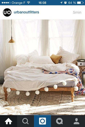 home accessory bedding bedroom home decor pom poms whiye cute white sheets bedspread and pillows grey wood pom pom blanket blanket