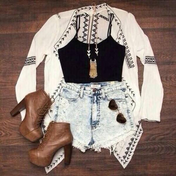 shorts High waisted shorts summer outfits girly fashion blouse jacket sunglasses shoes