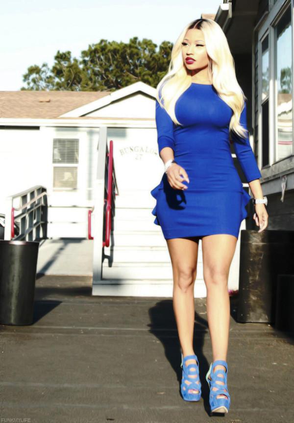dress nicki minaj blue dress short dress shoes nicki minaj style sexy dress blue heels high heels