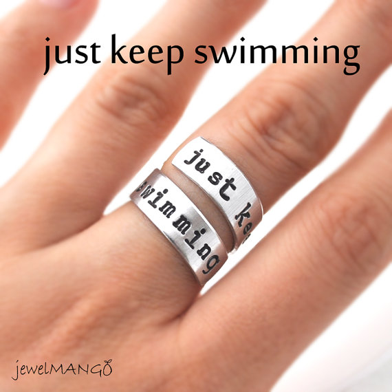 Just keep swimming Hand stamped ring inspirational by JewelMango