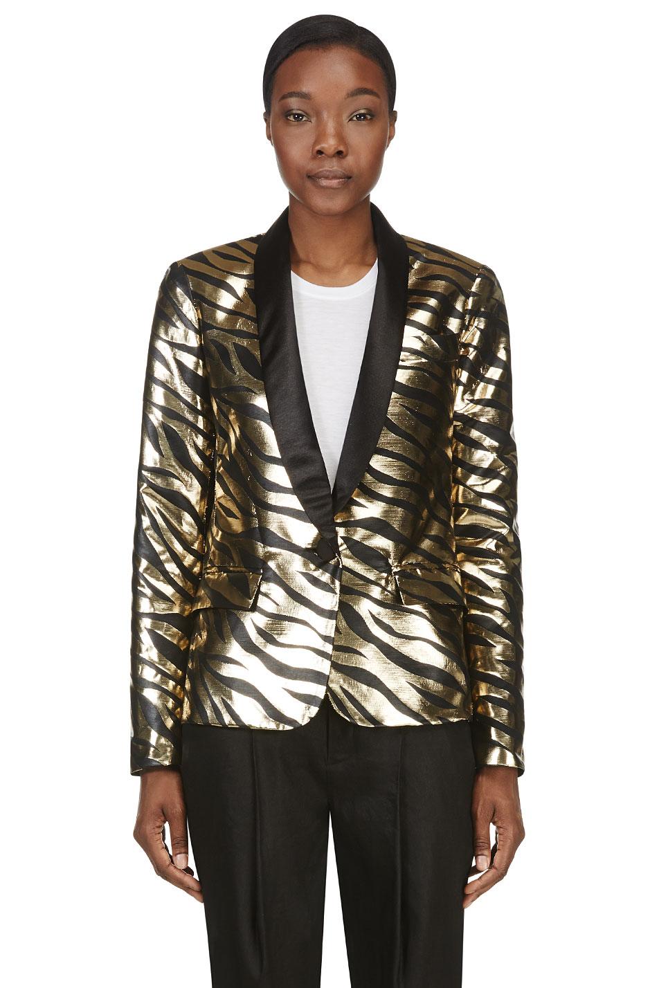 rodarte gold lam tiger stripe jacket
