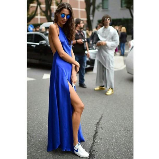 dress bright blue dress blue dress bright blue colorful dress bright dress long dress blue sunglasses street streetwear streetstyle streetstyle streetwear streetlook streetstyle trendy trendy trendy stylish style style on point clothing
