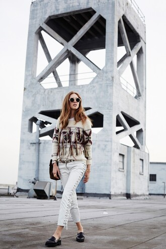 the blonde salad blogger native american round sunglasses fringes knitted sweater belt jewels sunglasses sunnies glasses hippie glasses retro sunglasses chiara ferragni