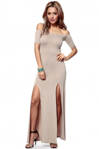 Off The Shoulder Double Slit Mocha Maxi Dress @ Cicihot sexy dresses,sexy dress,prom dress,summer dress,spring dress,prom gowns,teens dresses,sexy party wear,ball dresses