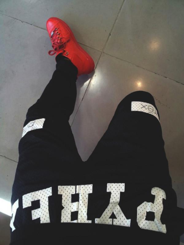 pants black white sweatpants