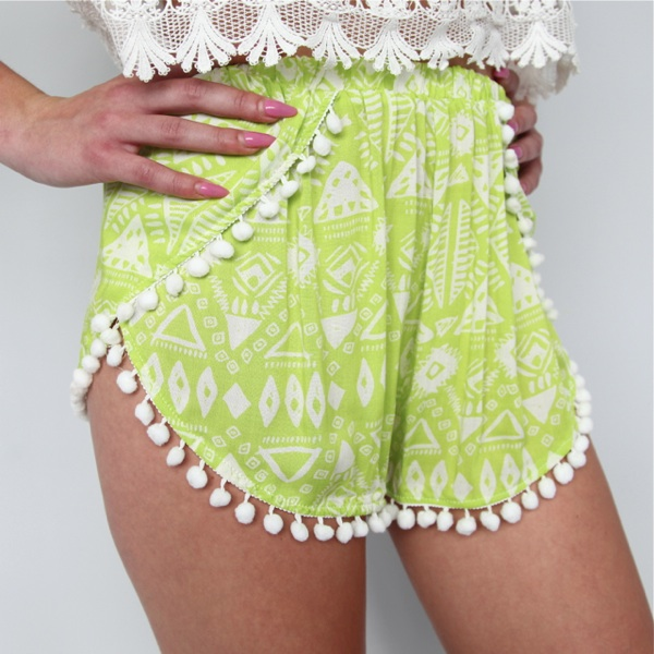 Festival Lime Tribal Aztec Prints Pom Pom Crossover Beach Shorts 6 8 10 12 | eBay